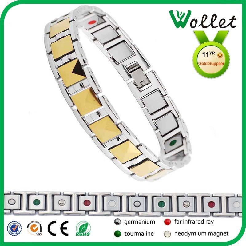 Men gold plating Fashion tungsten energy bracelets with tourmaline
