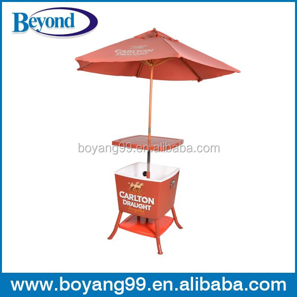 ice table cooler with umbrella