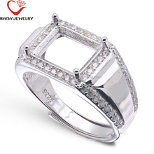 Latest designs s925 silver adjustable ring settings without stones for men