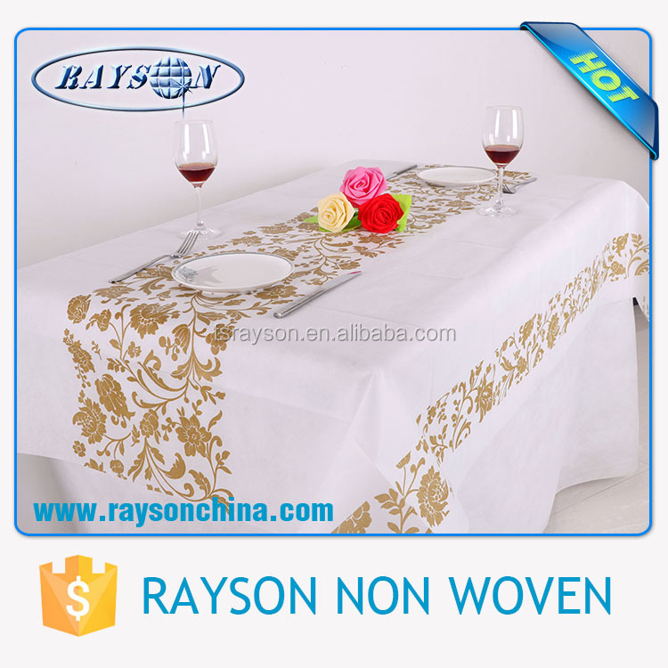 Wholesale White Color Cheap Beige Tablecloths for Wedding Party