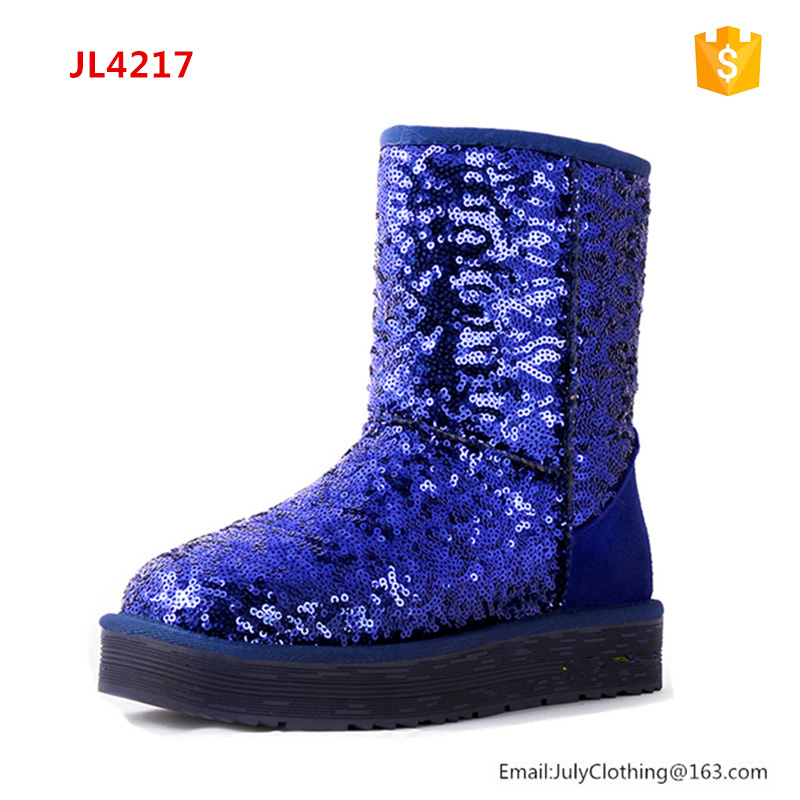 2017 Winter Shoes Ladies Half Fashion Boots Colorful Glitter Sequins Snow Boots