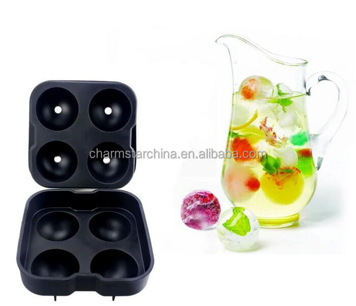 BPA Free Food Grade 4 Cavity Charming Colorful Reusable Silicone Sphere Ice Ball Mold for Whisky Ice Balls