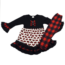 Valentine's Day baby clothes wholesale Red and black stripes children boutique clothing set