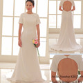 Simple backless designs pure white cap sleeve wedding dress