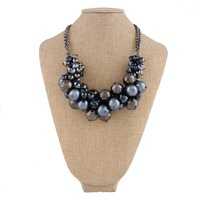 lastest design beaded pearls necklace for wedding women