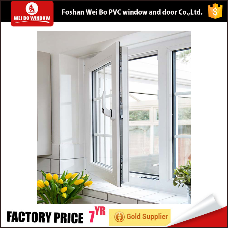 Simple style white color outward open casement window upvc casement window