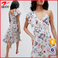 2017 fashion Wrap front One shoulder neck Tattoo Printed Asymmetric basic summer dresses women