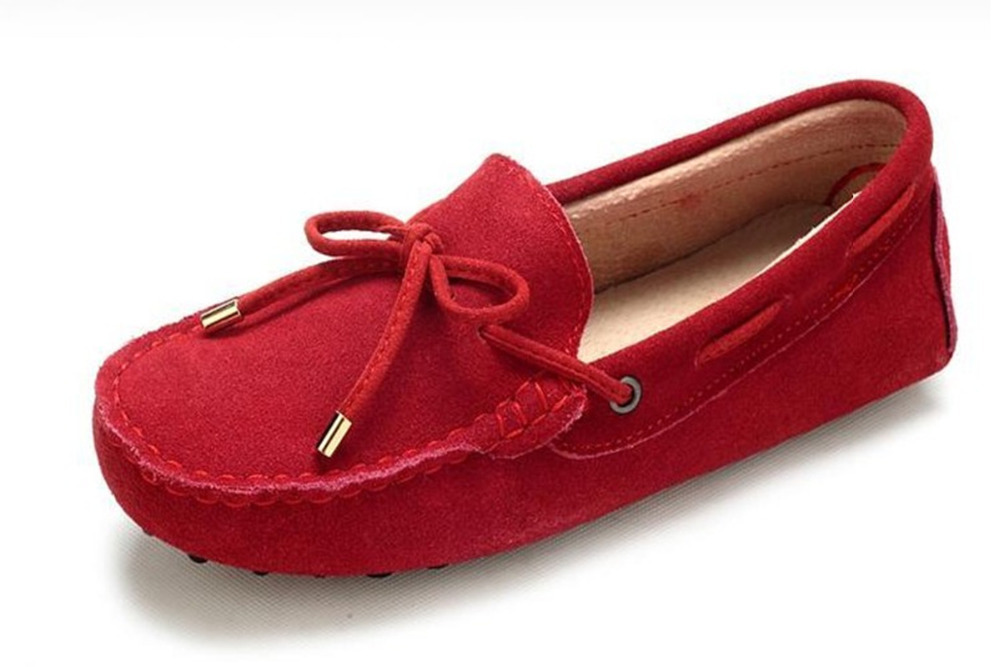 New 2015 Fashion Women Genuine Leather Flats Moccasins Bow Sewing Breathable Loafers Casual Lady Non-Slip Driving Shoes 10 Color