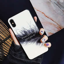 Feathers Water Droplet Custom Design Mobile Cover TPU Glass Phone Shell for iPhone 8 7 6 Plus X Chinese Cell Covers