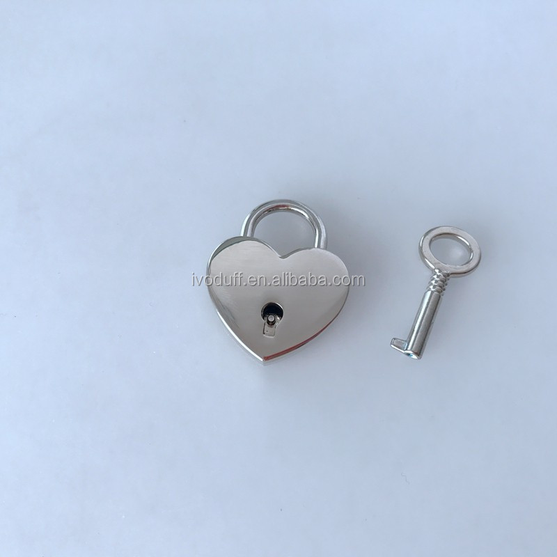 Vintage Style Mini Padlock Key Lock Heart Shaped Silver Color