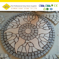 Burning Sun Shaped Recycled grey chinese granite paving stone on mesh