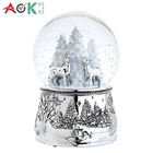 AOK Polyresin Table Decoration Snowing Globe Crystal Glass Snow Gall