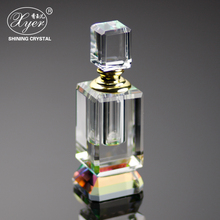 3ML Crystal Refillable Woman Perfume Bottle Empty Container w/gold Trim Glass Dauber