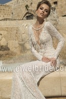 S1196 Sexy v neck long sleeve see through lace moroccan wedding dress