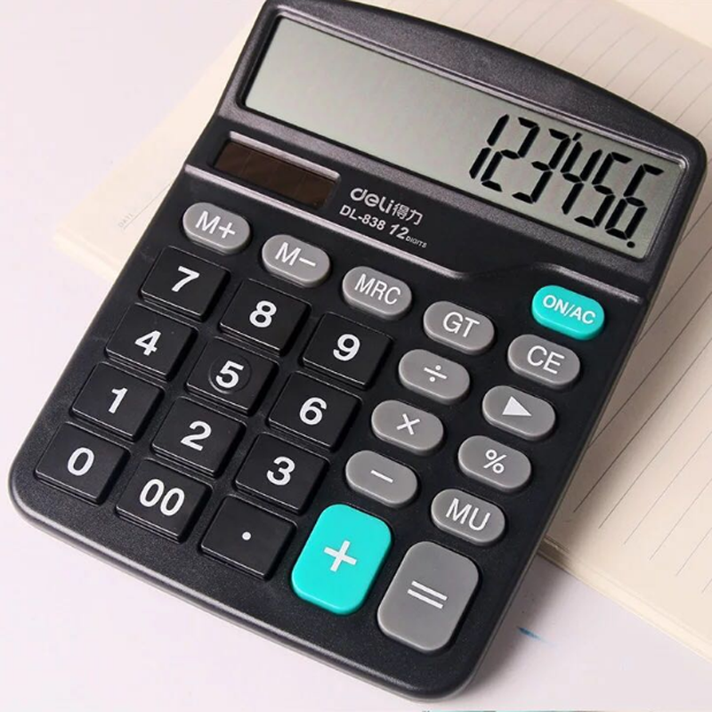 12 digits big display dual power solar calculator