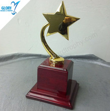 New Design Metal Craft Star Of Square Base Trophy Awards