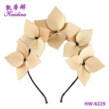 China factory Metal Floral Leather Big Flower Headband Pretty Headdress