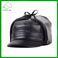 black leather high quality russian fur hat pilot bomber cap for men