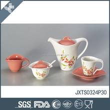 New design and fine quality porcelain 15pcs tea set pink colored with flower decal