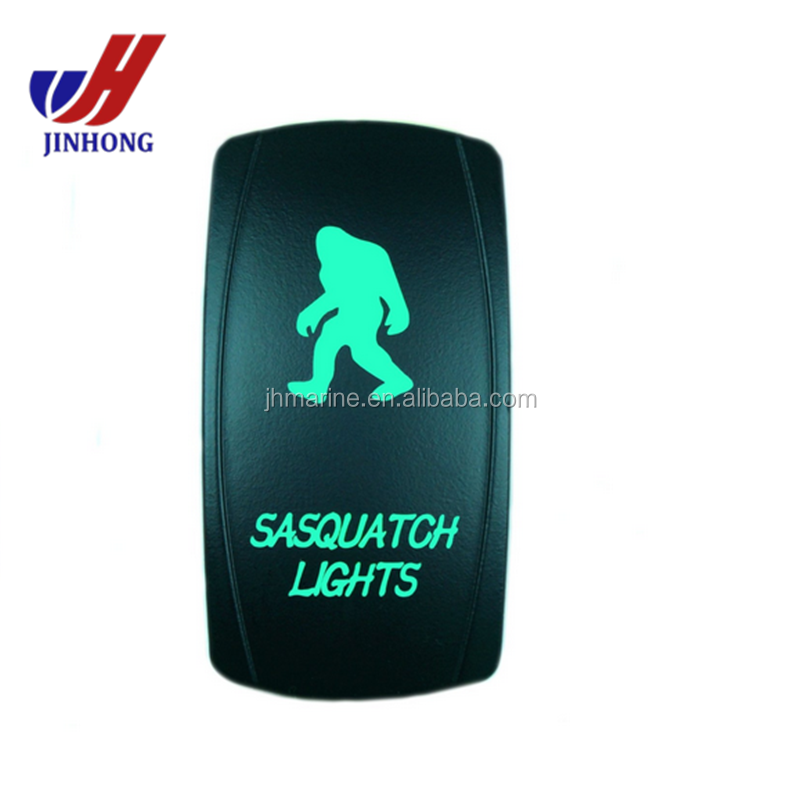 SASQUATCH LIGHTS SPST Waterproof 4X4 Rocker Switch (On-Off) 20A GREEN LED switch