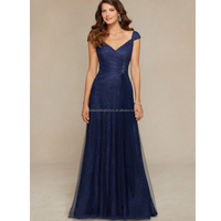 Cap sleeve floor length cheap free shipping lace navy blue mother of the bride dresses CWFm1943