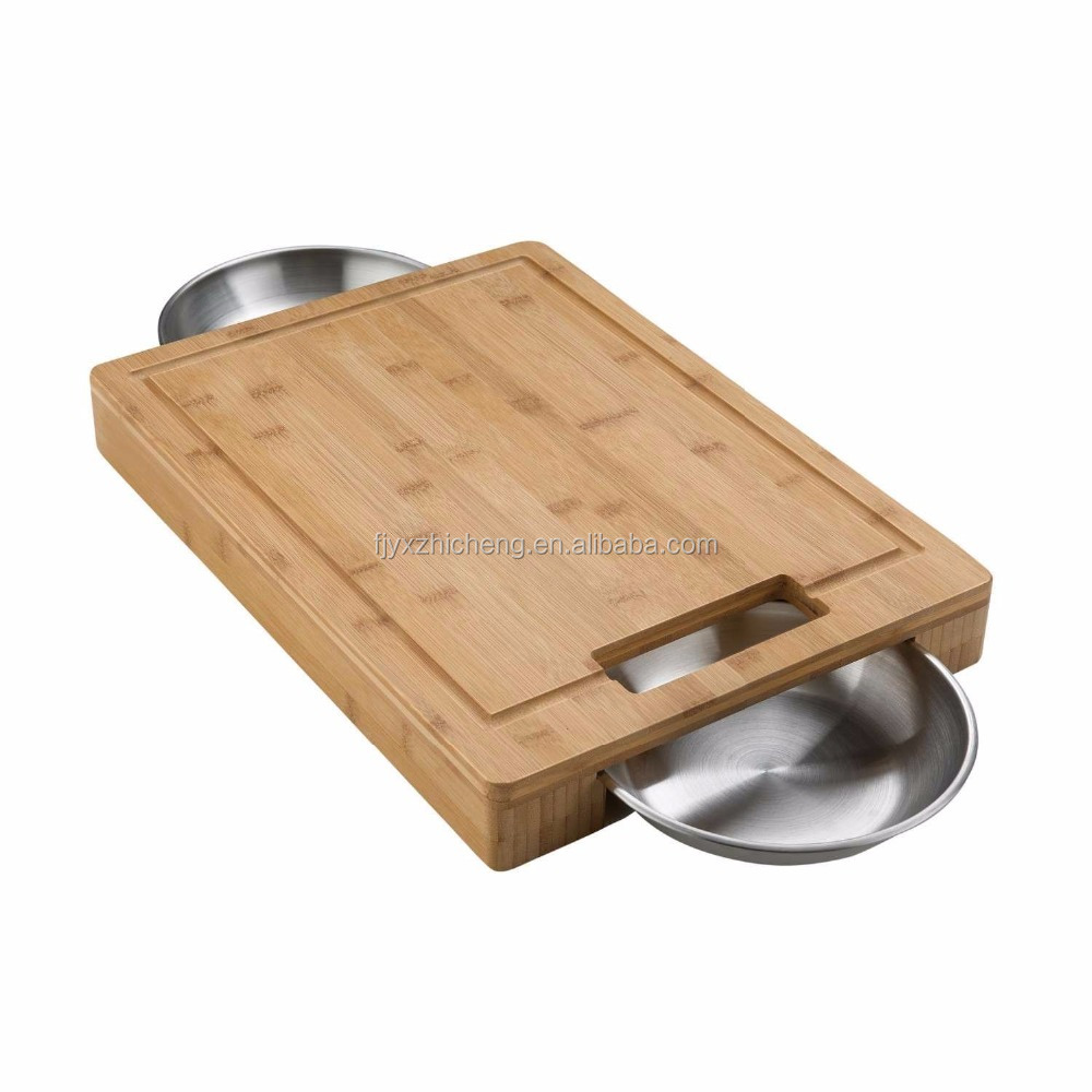 100% Natural Bamboo Chopping Board Wholesale Bamboo Cutting Board with Stainless Steel Bowls