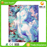 Round Shape Realist Style Design Painting Lady Sex Photo Diamond With Animal