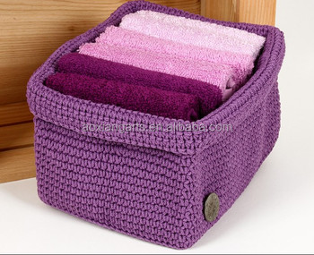 Hot Sale Handicrafts Household Crocheted Linen Basket for Towel