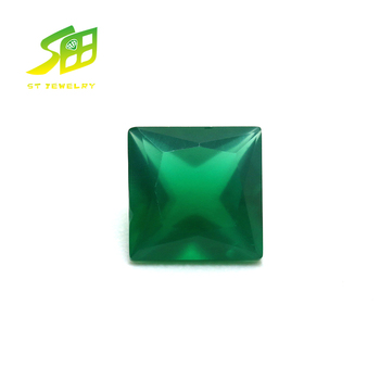 Square cut 5*5mm natural green agate