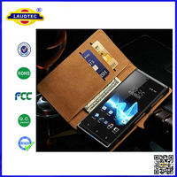 2014 New Arrival 100% Perfect Fit Genuine Leather Cover for Sony Xperia J Bookstyle Case with Stand Laudtec