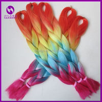 HARMONY Wholesale Ombre Two Three Tone Colored Jumbo Braid 100 Synthetic Box Braiding Hair Rainbow Color Jumbo Braid Hair