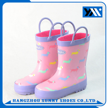 girls welly rubber rain boots with handle and lining fur