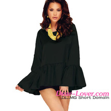 Sexy Lady Black Flounce Wide Sleeves High Low Hem Blouse & top