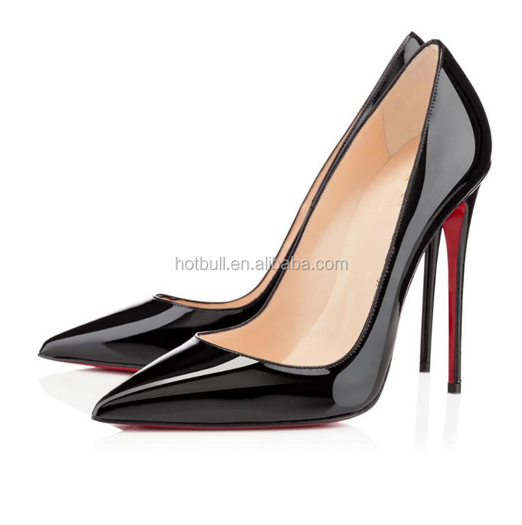 women pumps sexy red bottom pointed toe high heels shoes