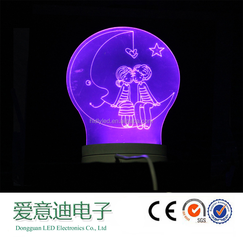Light weight romantic fashion hotel 3d led light table for sale
