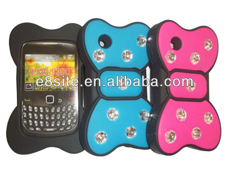 For BlackBerry Curve 8520/9300 Diamonds Bowknot Silicon Case