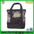 Large Mesh Beach Tote Bag with Insulated Picnic Cooler