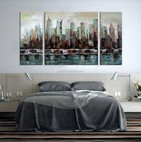 Created Art Framed Colour Building Oil Painting