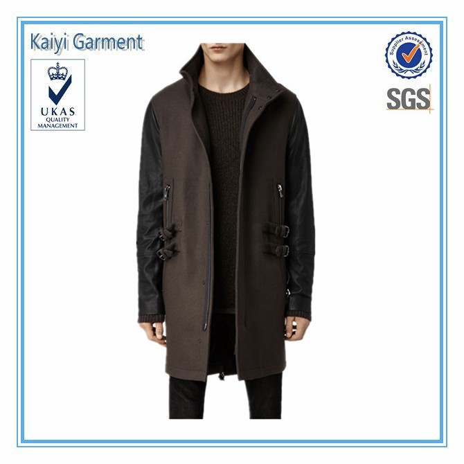 Fashion slim fit wool long winter man leather overcoat