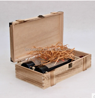 2 bottle wood wine storage box, natural style wooden box for sale