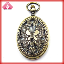 Fashion vintage butterfly pocket watch antique necklace QXNK150627