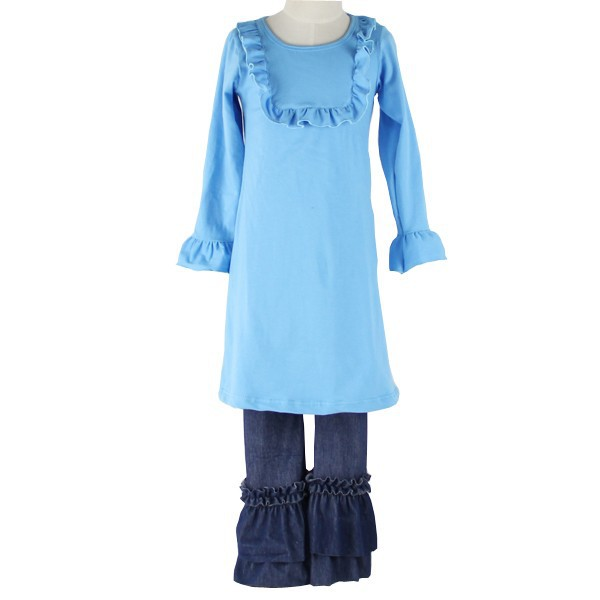 High Quality Baby Girls Boutique Clothing Sets Ruffle Bib sets Long Sleeve Kids Back To School outfits