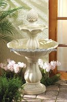 White acorn/ wooden cask resin outdoor fountain