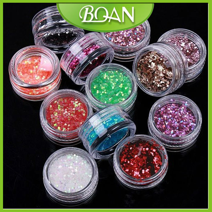12 Colors Nail Glitter Powder for Nail Decoration Rhinestone Sparkly Stone