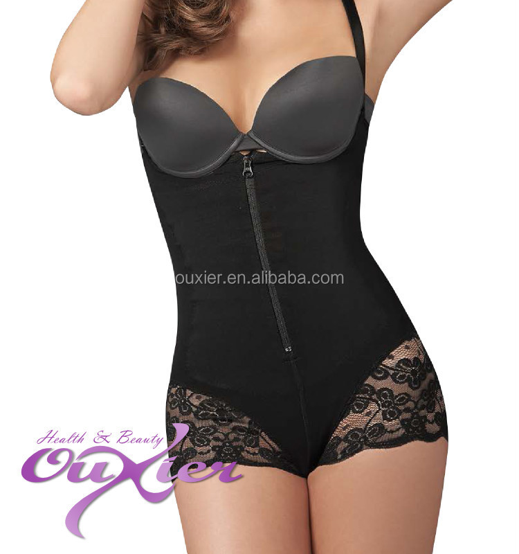 Double Layer Wholesale Lace Female Slimming Body Suit with Zipper