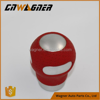 Red Silver Leather Steel Stainless Manual Gear Shift Knobs