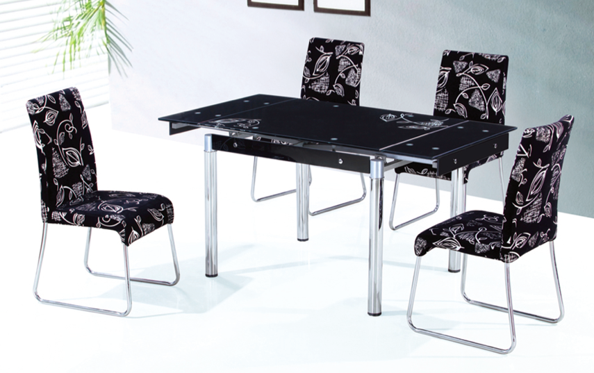 Black glass extension dining table with metal tube legs dining room furniture design in home