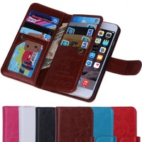 BRG Manufacture 2 in 1 Detachable Multifunction Cell Phone Leather Wallet Case For iPhone 6/6S With 9 Credit Card