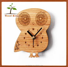 <strong>Bamboo</strong> And Wood Color Fashion Creative Owl Fridge Magnets Sticker Clock Bird Wall Clock