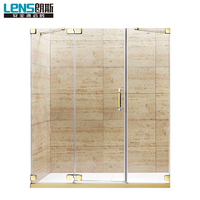 Best quality straight brass pivot hinge frameless shower door with 10mm tempered glass
